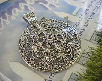 Antique Silver Large Round Pendant -  Filigree Design -  Vintage Look - Lead Nickel Free - 46 x 60 mm