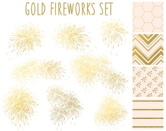 Clipart Sale 60% off, Gold Fireworks, Digital Design, Holiday Clipart, Gold Clipart, Scrapbooking Supplies, Fireworks Set #055