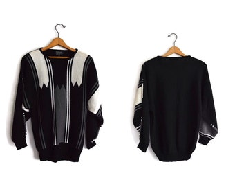 Vintage 1990s Sweater Black White Medium Batwing Dolman Disco Sweater by Knitivo