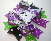 NEW Girls Toddlers Infants Halloween Ghost Large Twisted Boutique Bow with Ghost Print, Black, Purple and Green Dots, Accent Spikes