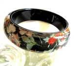 Black Lucite Bangle Multicolor Floral Print Clear Lucite Overlay