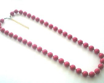 Hot Pink Lucite Bead Necklace 24 - 27 Inches