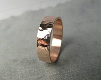 Hammered Copper Ring Hammered Ring Handmade Made to Size Thick Ring Engraving Options
