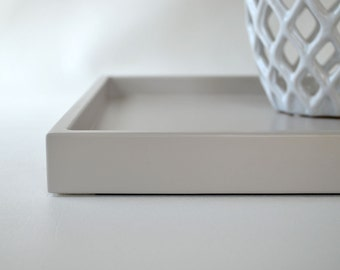 Taupe Grey Shallow Decorative Tray, Lacquered Wood Serving Tray, Coffee Table Tray, Grey Home Decor, Ottoman Tray