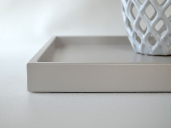 Taupe grey shallow decorative tray lacquered wood serving for Shallow coffee table