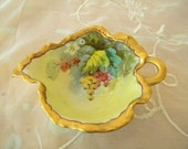 Beautiful Handpainted Haviland France Leaf Shaped Candy or Nut Bowl, Dish, Gooseberries, Green, Yellow, Crimson, Gold