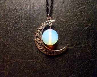 Opalite Moon Glass Planet Orbit Lunar Globe Astral Necklace