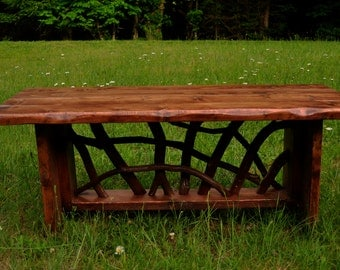 Modern Rustic Tree Wood Handmade Coffee Cocktail Table Log Cabin Furniture by J. Wade FREE SHIPPING