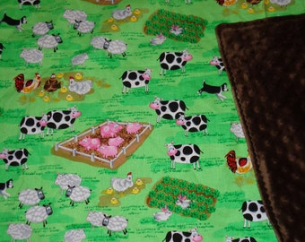 Green/Brown Farm Animal/ Cow/Sheep/Pig/Chicken/Rabbit Cotton / Minky Baby/Toddler Blanket