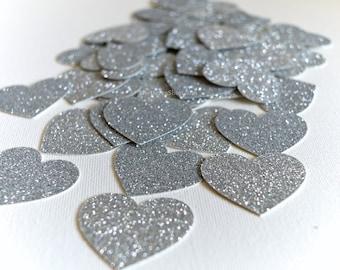 Glitter Confetti - Silver Glitter Confetti Hearts - Glitter Wedding Decor or Party Cut Out Glitter Hearts - Table Scatter - Confetti 50 Pcs