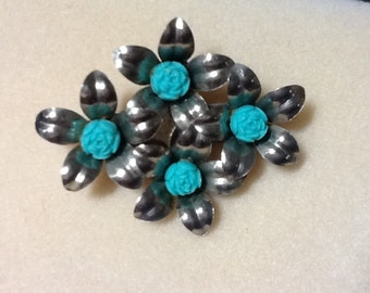Handmade Silver Pin Turquoise And Stone Carved Pin