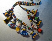 Vintage Guatemalan Beaded Worry Dolls Necklace