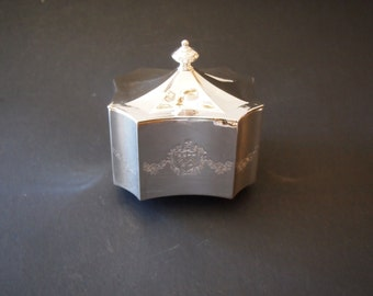 Vintage Silver Plated Jewelry Trinket Box