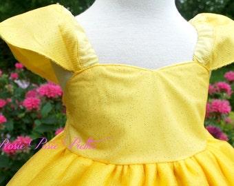 Princess Dress, Yellow Dress, Tulle Dress, Yellow Tulle Dress, Flower Girl Dress, Disney Dress, Belle Dress, Girls Dress, Birthday Dress
