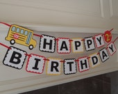 School Bus Party Birthday Banner for Wheels on the Bus Party with Age and Custom Name Option by Feisty Farmers Wife