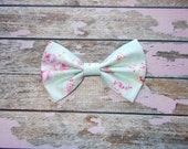Shabby Chic Fabric Hair Bow Clippie/Aqua and Pink Floral Fabric Hair Bow/Infant, Toddler, Girls Large Shabby Chic Floral Hair Bow Clip
