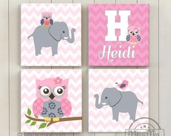 Baby Girl Elephant Nursery Decor, Girls Nursery Art, Elephant, Owl, Personalized Custom Nursery Decor - Canvas Art - Playroom Wall Art