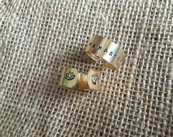Yoga Namaste Om Ring - Yoga Jewelry - Lotus - Hand Stamped Jewelry Gold Brass Yoga Ring SALE