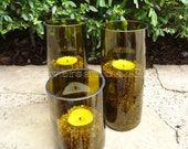 Recycled Wine Bottle Candle Holders Set of 3 Large Quantities Available