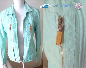 turquoise jacket in size small- green pastel coat