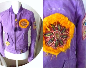 purle hipster jacket-funky vintage clothing-hip short jacket- embroidered details-rare coat for young woman- spoil yourself- Woodstock style