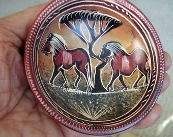 Tiny Soapstone Dish Handcarved and Painted in Kenya - Savanna Bowl Made From Kiisi Stone