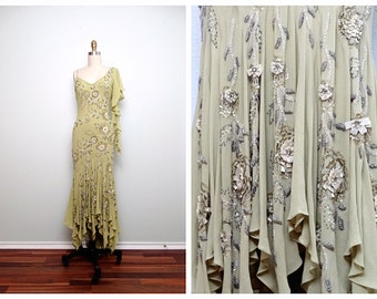 LILLIE RUBIN Beaded Gown // Sage Green Chiffon Embellished Dress // Iridescent Beaded Sequin Embroidered Dress Size 4