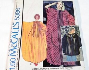1970s Boho Caftan Dress Robe sewing pattern McCalls 5386 UNCUT FF