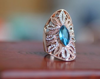 Blue Stone Ring, Filigree Ring, Marquise Ring, Vintage