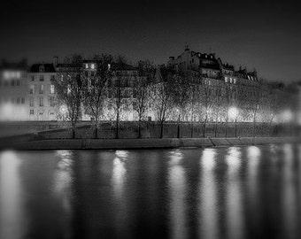 Black And White Paris Photography, Ile Saint Louis, Paris At Night, Fine Art Photography,
