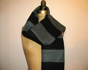 Black, Gray Scarf - Men's Extra Long Winter Scarf - Gray and Black Stripes Winter Fleece Scarf with Fringe - Mens Accessories