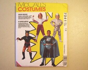 Vintage McCalls 7341 Halloween Costume Sewing Pattern - Boy Super Hero Pattern Size 7, 8 - Sewing Supplies - McCalls Costume - Halloween
