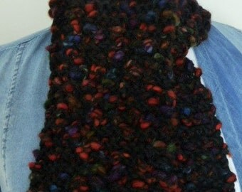 Black knitting scarf, knitted scarf, neck warmer scarf, muffler scarf, handmade knitted scarf, winter scarf, hand knit scarf, neck scarf