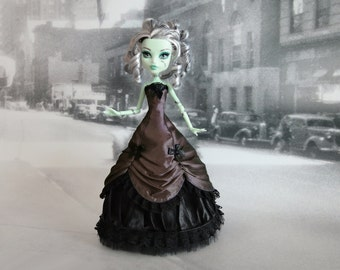 Long chocolate brown and black  victorian dress hand made fits Monster High doll