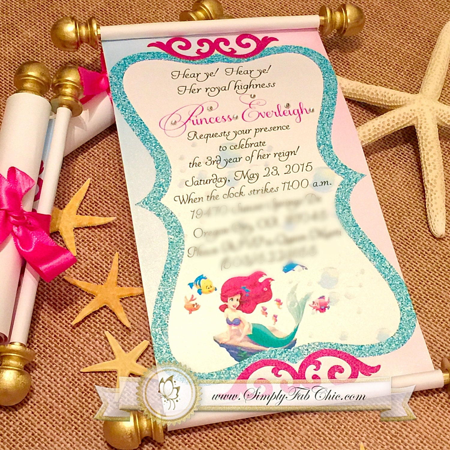 Gut gemocht Petite sirène Royal Disney Princesse Scroll Invitation DW71