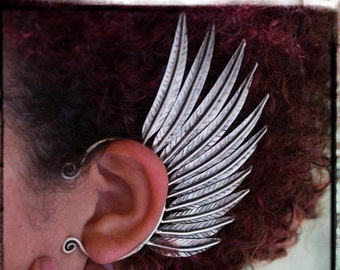 LEFT Tribal Feather Wing Ear Cuff Exotic Hill Tribe Earcuff Jewelry