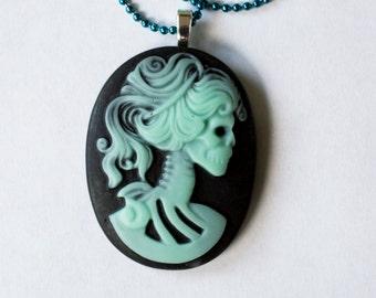 Teal & Black Skeleton Cameo Necklace