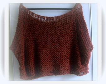 SWEATER WOMAN KNITTED Bulky Pullover  Poncho  Shoulder Cover   Cropped Sweater  Rust Color