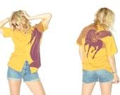 vintage bowling shirt / unicorn shirt / unicorn blouse / mustard yellow with purple unicorn / mustard yellow blouse