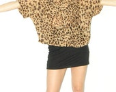 Vintage 1990s 90s boxy blouse, animal print blouse, sheer blouse / leopard print blouse, bobcat blouse
