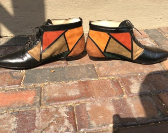 1970's color block leather granny ankle boot