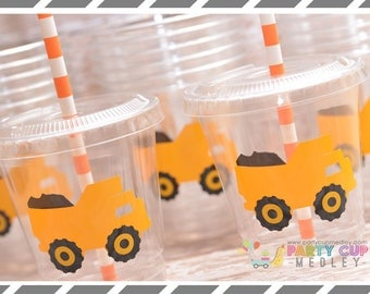 Construction Birthday Party, Set of 8 or 12 You Choose Party Cups, Favor Cups or Reusable Souvenir Cup