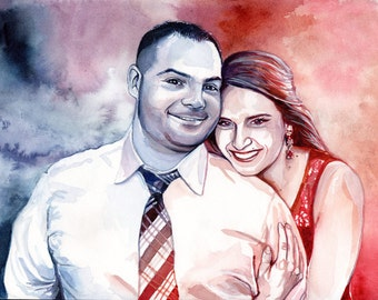 GIFT for HIM for first wedding ANNIVERSARY - Paper anniversary special gift for men - Watercolor couple custom portrait - Gift for her