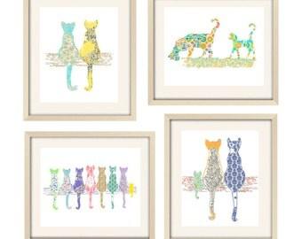 Cat prints cat art cat nursery decor baby girl nursery art baby animal prints Cat decor kitten art cat print nursery wall art nursery art