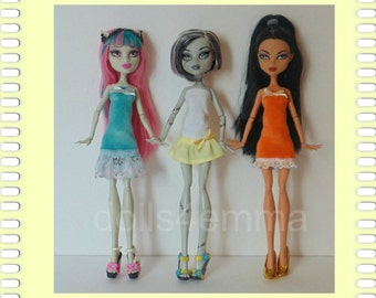 Monster High Doll Clothes - Lot of 3 Handmade Custom Spring Easter Dresses #31 - by dolls4emma