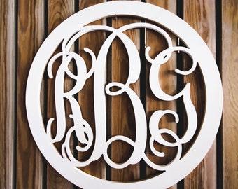 35 Inch Wooden Monogram - Unfinished Vine Script Monogram - Wedding Guest Book - Monogram Door Hanger - Nursery Monogram