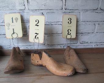 Table Number Holder Vintage Cobbler's Shoe Last Photo Holder Wedding Table Number Cafe Table
