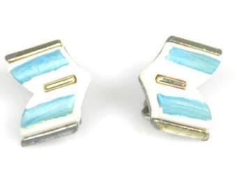 Coro Blue White Chevron Earrings 1960s
