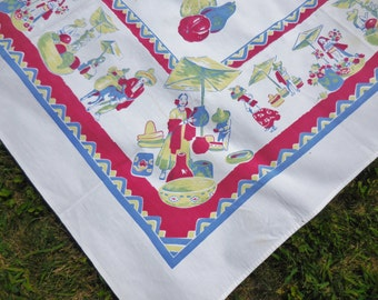Vintage Tablecloth Mexican Theme AWESOME Condition