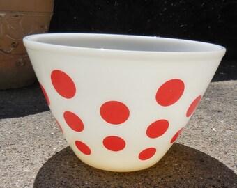 Vintage Large 9.5in Fire King Red Polka Dot Mixing Bowl Atomic